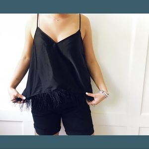 Silk feather trip tank top
